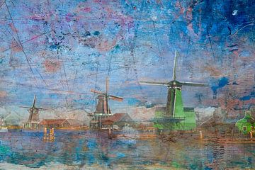 Windmühlen in Zaanse Schans, Niederlande von Rietje Bulthuis