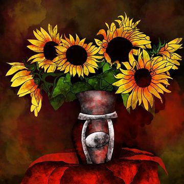 bloemmotief - zonnebloemen in een vaas van Patricia Piotrak
