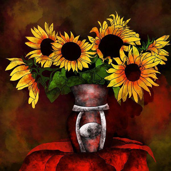 Blumenmotiv - Sonnenblumen in einer Vase von Patricia Piotrak