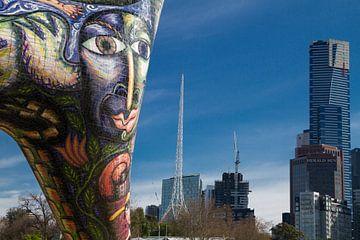 Melbourne en Angel standbeeld van Tessa Louwerens