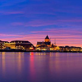 Panorama Kampen  auf dem Fluss während eines atemberaubenden Sonnenuntergang 3 von Anton de Zeeuw