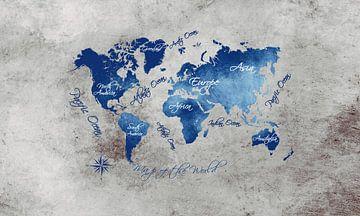 Weltkarte blau grau #Karte #Weltkarte von JBJart Justyna Jaszke