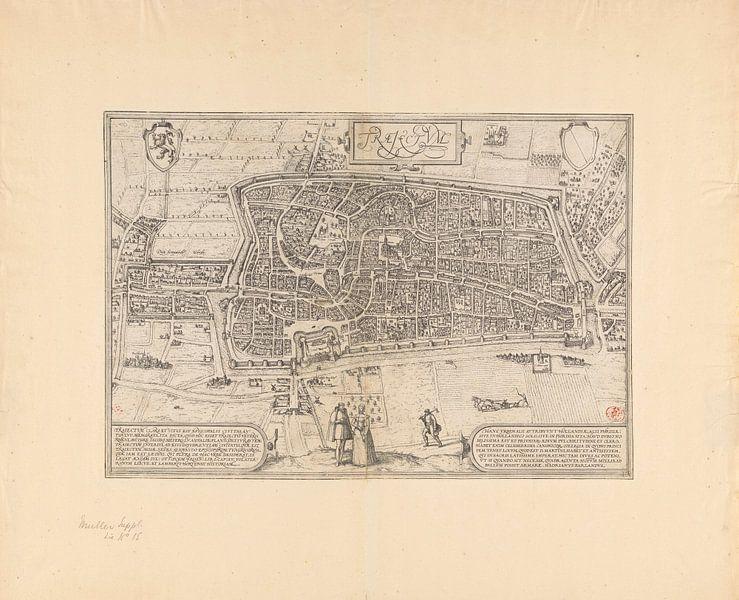 Plattegrond van de stad Utrecht, Frans Hogenberg, 1572 van Historisch Utrecht