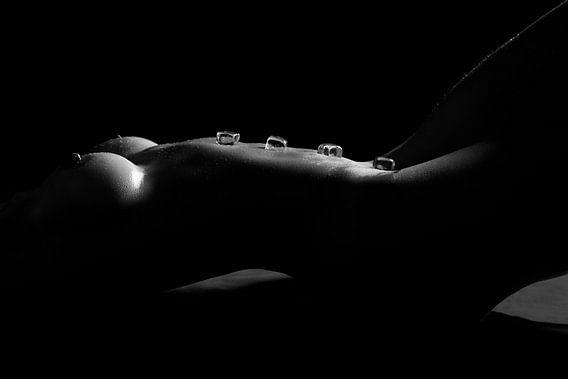 Bloot vrouwenlichaam bedekt met ijsblokjes - Erotische foto van Retinas Fotografie