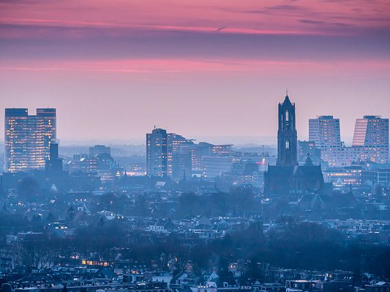 Zonsondergang Skyline Utrecht van Mart Gombert