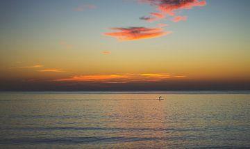 Zonsondergang met prachtige oranje lucht van Frank van Hulst