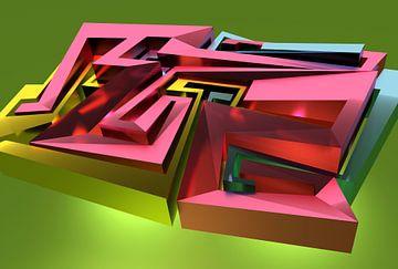 """Complex 3D graffiti in roze, geel en groen met de letters """"Tez"""" van Pat Bloom - Moderne 3d en abstracte kubistiche kunst"""