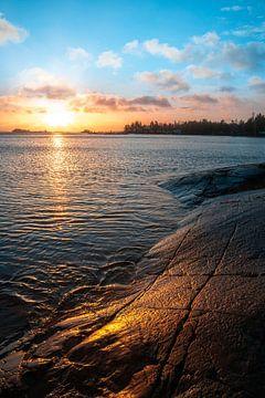 Zweden zonsopgang bij het meer Vita Sandar, vänern van Fotos by Jan Wehnert