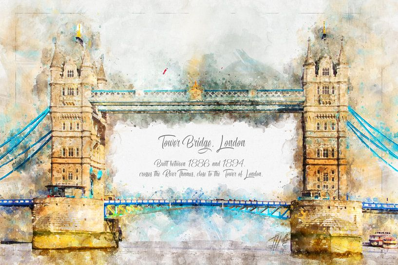 Tower Bridge, Aquarell, London von Theodor Decker