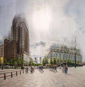 Rotterdam in beweging - Stationsplein in de late middag van Jerome Coppo