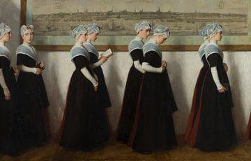 Amsterdamse weesmeisjes in een gang voor een stadsprofiel van Amsterdam, Nicolaas van der Waay