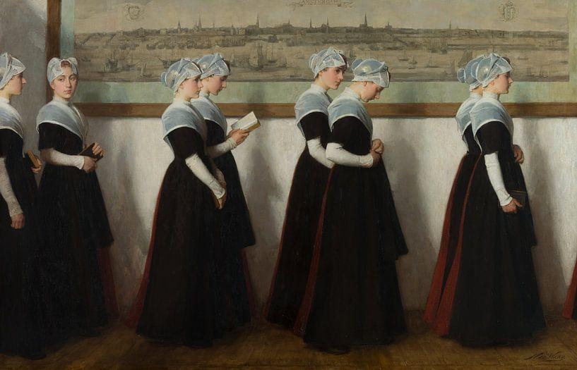 Amsterdamse weesmeisjes in een gang voor een stadsprofiel van Amsterdam, Nicolaas van der Waay von Meesterlijcke Meesters