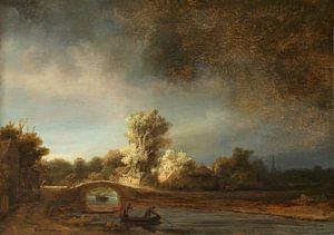 Rembrandt van Rijn. Landschap met stenen brug van 1000 Schilderijen