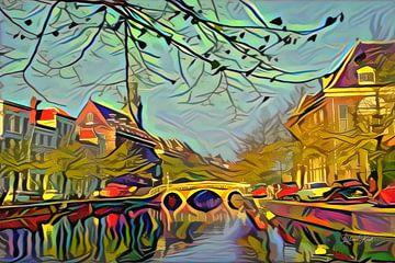 Rapenburg Leiden met Nonnenbrug en Academiegebouw in stijl Picasso van Slimme Kunst.nl