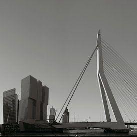 Panorama Erasmusbrug zwart/wit van Jan Pott