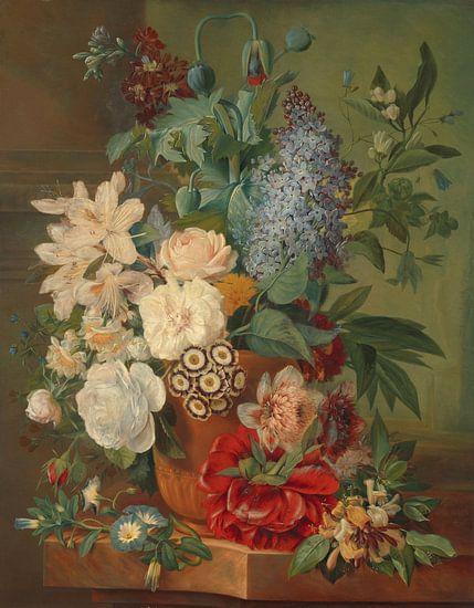 Bloemen in een terracotta vaas, Albertus Jonas Brandt van Meesterlijcke Meesters