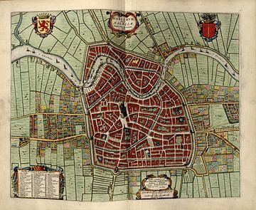 Haarlem,, Stadsplattegrond Joan Blaeu 1652 van Atelier Liesjes