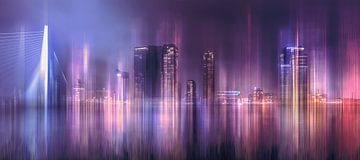 La ligne d'horizon de Rotterdam en montage d'images abstraites sur Dennisart Fotografie