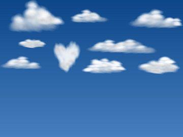 Wolken hart digitale illustratie van Anne Dellaert