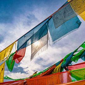 Zonlicht gefilterd door gebedsvlaggen, Tibet van Rietje Bulthuis