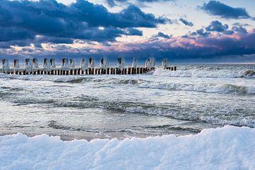 Groynes on the Baltic Sea coast van