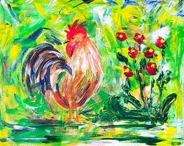 Schilderij haan en bloemen van Ivonne Wierink