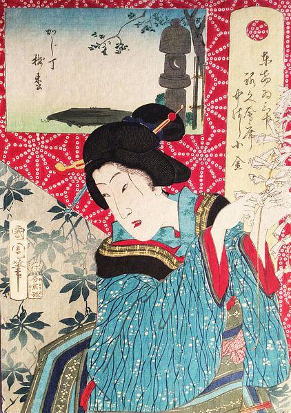 Vintage Japanse Geisha van Vintage en botanische Prenten