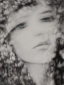 Porträt mit Blumen von Marijke de Leeuw - Gabriëlse