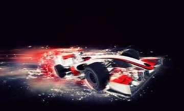 F1 formule 1 auto met speciaal snelheidseffect van Atelier Liesjes