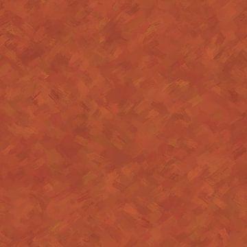 Abstrakter Maler mit warmen orangefarbenen und rostbraunen Farben. von Emiel de Lange