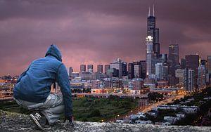 man uitzicht stad van
