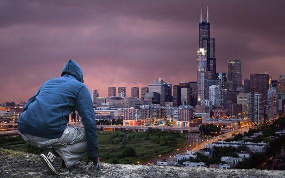 man uitzicht stad
