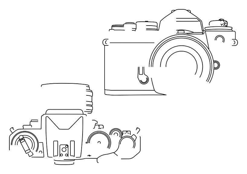 Analoge Camera Silhouet (Nikon FE2-style) van Drawn by Johan