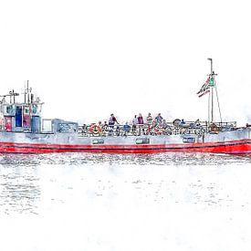 Sportvisserij- & rondvaartboot Zwerver 3 uit Tholen (Zeeland) (kunstwerk) van Art by Jeronimo