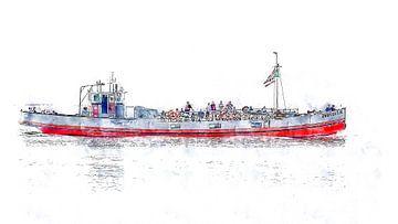 Sportvisserij- & rondvaartboot Zwerver 3 uit Tholen (Zeeland) (kunstwerk) von Art by Jeronimo