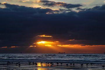 Sonnenuntergang Katwijk aan Zee von Arie  van Duijn