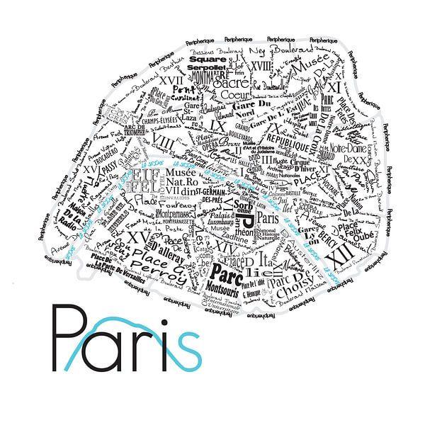 Plattegrond Parijs in woorden van Muurbabbels Typographic Design