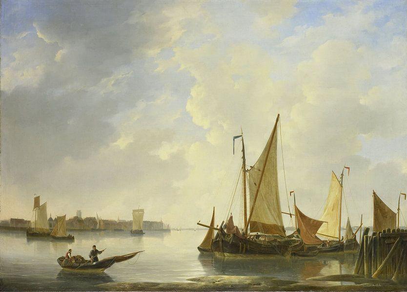 Gezicht op Dordrecht vanaf Papendrecht