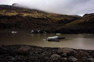Solheimajokull Gletsjer meer Ijsland  van