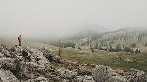 Mist trekt over Velika Planina van