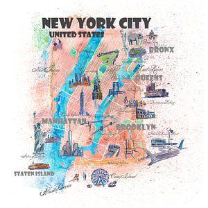 Geïllustreerde kaart van New York City met hoofdstraten, bezienswaardigheden en hoogtepunten van