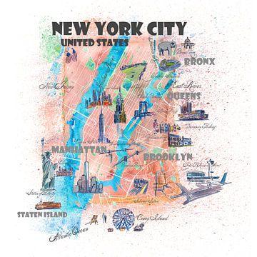 Carte illustrée de la ville de New York avec les principales rues, les curiosités et les points sail sur