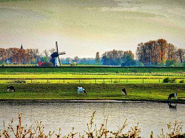 Nederlands landschap met een windmolen van Vladimir Kozich