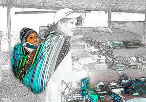 Foto schets van moeder en kind, Peru van