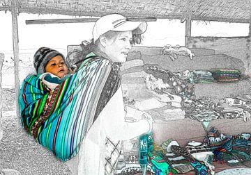 Foto Skizze von Mutter und Kind, Peru von Rietje Bulthuis