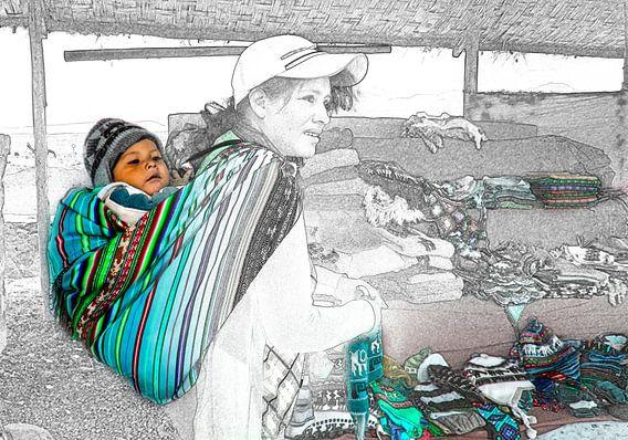 Foto schets van moeder en kind, Peru