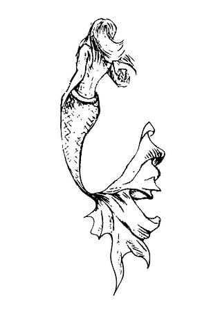 Inkt pen illustratie van een zeemeermin met een sierlijke staart van Emiel de Lange