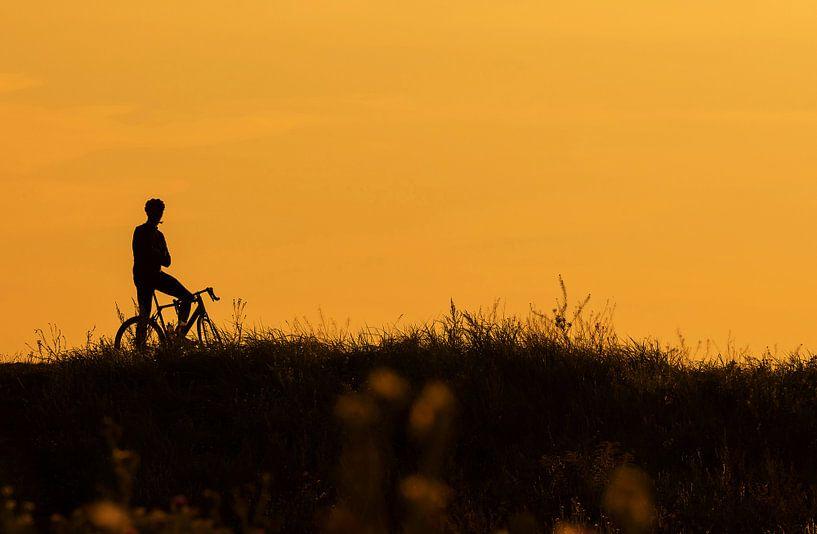 Silhouette d'un cycliste faisant une pause sur Frank Herrmann