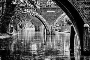 Zicht op de Hamburgerbrug, de Weesbrug, Smeebrug, Geertebrug en Vollersbrug in Utrecht gezien vanaf