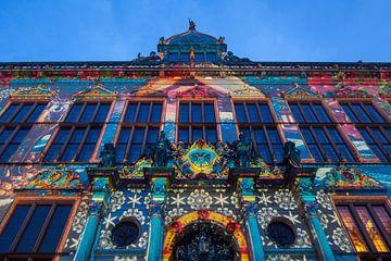 Verlichte Schütting op de marktplaats Bremen, Bremen, Duitsland, Europa van Torsten Krüger